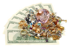 Gold and money. Jewelry and diamonds laying on dollars, isolated Royalty Free Stock Photos