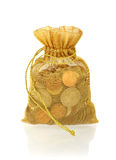 Gold Money Bag of Coins Stock Photography