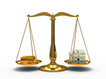Gold and money balance Royalty Free Stock Photos