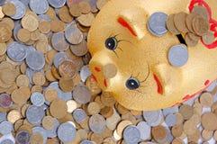 Gold money-box. Among the Ukrainian chinks stock image