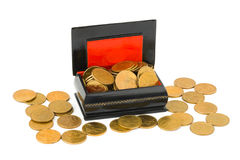 Gold money in box Royalty Free Stock Images