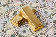 Gold and money - business background stock photo