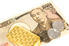 Gold and money Royalty Free Stock Image