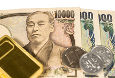 Gold and money Stock Photography