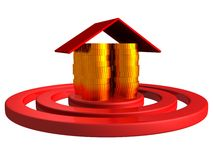 Gold money coins house as a center of red target Royalty Free Stock Image
