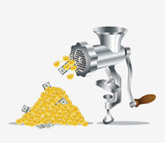 Gold money dollar meat mincer Stock Photography