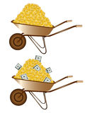 Gold money dollar wheelbarrow Royalty Free Stock Photos