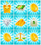 Gold Money Icons. Set of gold and financial icons Royalty Free Stock Photo