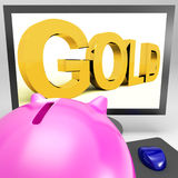 Gold On Monitor Shows Wealth Stock Image