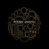 Gold mono line kitchen utensils logo. Objects silhouettes. Stock Image