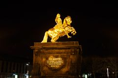 Gold Monument of Frederick Augustus II Stock Photo