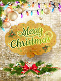 Gold mosaic background. EPS 10. Christmas decoration on gold mosaic background. EPS 10 vector file included Royalty Free Stock Photography