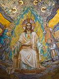 Gold mosaic on the ceiling of the Basilica of the Sacre Coeur in royalty free stock image