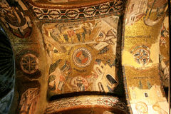 Gold mosaic in Chora Church in Istanbul Royalty Free Stock Images
