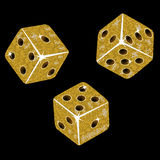 Gold mosaic dice. Tumbling gold mosaic dice on a black background Stock Photo
