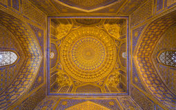 Gold mosaic dome in Tilya Kori Madrasah, Samarkand, Uzbekista Royalty Free Stock Images