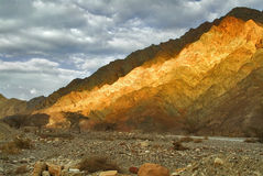 Gold mountain. The mountains brightly shined by the sun about Eilat in Israel Stock Image
