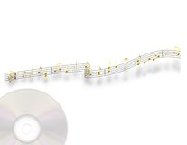 Gold Music. Golden musical notes on a stylized staff with a compact disc Royalty Free Stock Photography