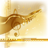 Gold music background. Abstract golden musical template with notes Stock Images