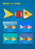 Gold music fish. Gold fish nice musical instrument Royalty Free Stock Photo