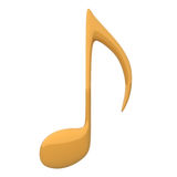 Gold Music Note. 3d illustration Stock Photos