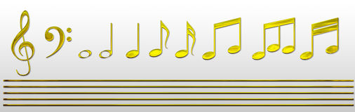 Gold Music Notes Royalty Free Stock Photography