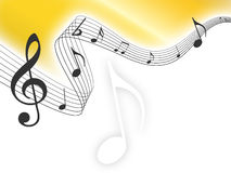 Gold music notes background. With lines royalty free illustration