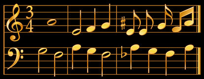Gold Music Notes, Black Background. Detailed, shaded, gold music notes with treble and bass clef, whole notes, half notes, quarter notes, eighth notes, sixteenth Stock Photos