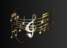 Gold music notes on a solid black background. Vector royalty free illustration