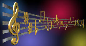 Gold Music Notes On Wavy Lines. A concept showing literal gold metallic music symbols and notes on the five wavy octave lines on a jazzy colorful background Stock Image