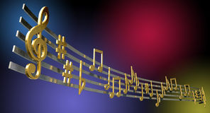 Gold Music Notes On Wavy Lines. A concept showing literal gold metallic music symbols and notes on the five wavy octave lines on a jazzy colorful background Stock Photo