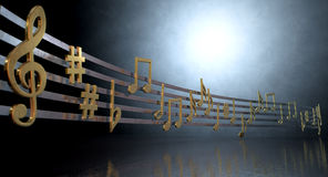 Gold Music Notes On Wavy Lines. A concept showing literal gold metallic music symbols and notes on the five wavy octave lines on a spotlit background Stock Images