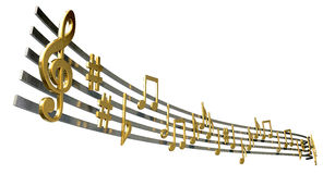 Gold Music Notes On Wavy Lines Royalty Free Stock Images
