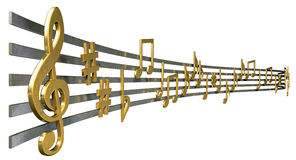 Gold Music Notes On Wavy Lines Royalty Free Stock Image