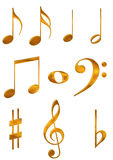 Gold music symbols. Digital illustration of gold music symbols stock illustration