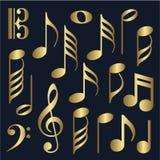 Gold music symbols Royalty Free Stock Image