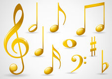 Gold music symbols Royalty Free Stock Photos