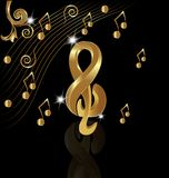 Gold musical note on black background vector. Illustration melody play graphic song Royalty Free Stock Photography