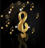 Gold musical note on black background vector. Illustration melody play graphic song Vector Illustration