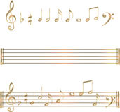 Gold musical notes symbols set Royalty Free Stock Photo