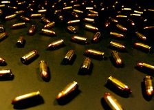 Gold n Black 9mm's Royalty Free Stock Images