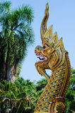 The gold naga in thai temple. On Thailand Royalty Free Stock Photos