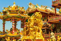 Gold. Najasaataichue Chinese temple in Thailand royalty free stock photo