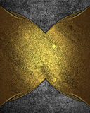 Gold nameplate on cement texture. Element for design. Template for design. copy space for ad brochure or announcement invitation, Stock Images