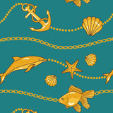 Gold nautical pattern Royalty Free Stock Image