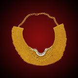 Gold neck-less. Jewellery ...showing details of the workmanship royalty free stock photography