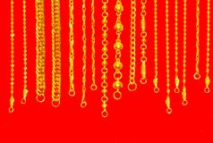 Gold neck lace ,Gold chains jewelry Royalty Free Stock Photo