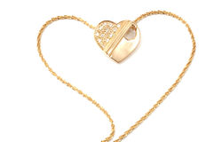 Gold necklace. Yellow gold necklace, heart with diamonds, isolated on white Stock Photos