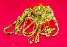 Gold necklace Stock Image