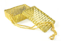 Gold necklace and box Stock Photos